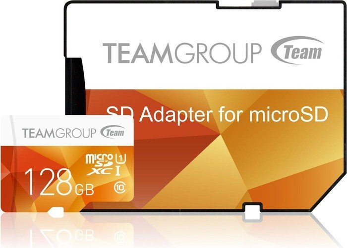 TeamGroup Color Card I yellow R80/W20 microSDXC 128GB Kit, UHS-I, Class 10 (TCUSDX128GUHS42)