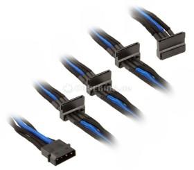 SilverStone SATA-Stromadapter 4-Pin [IDE] auf 4x 15-Pin [SATA] 30cm, sleeved schwarz/blau (SST-PP07-BTSBA/40118)