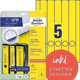 Avery-Zweckform Ordneretiketten 38x297mm, gelb, 20 Blatt (L4751-20)