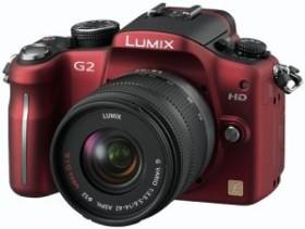 Panasonic Lumix DMC-G2 rot mit Objektiv Lumix G Vario 14-42mm 3.5-5.6 OIS (DMC-G2K)
