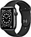 Apple Watch Series 6 (GPS) 44mm Aluminium space grau mit Sportarmband schwarz (M00H3FD)