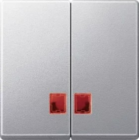 Merten System M Doppelwippe rotem Symbolfenster Thermoplast edelmatt, aluminium (MEG3456-0460)