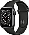 Apple Watch Series 6 (GPS) 40mm Aluminium space grau mit Sportarmband schwarz (MG133FD)