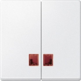 Merten System M Doppelwippe rotem Symbolfenster Thermoplast edelmatt, polarweiß (MEG3456-0419)