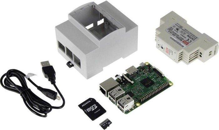Raspberry Pi 3 Modell B, Hutschienen-Set weiß
