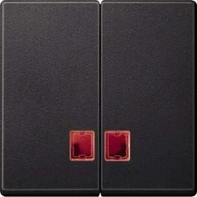 Merten System M Doppelwippe rotem Symbolfenster Thermoplast edelmatt, anthrazit (MEG3456-0414)