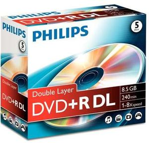 Philips DVD+R 8.5GB DL 8x, 5-pack (DR8S8J05C/10)