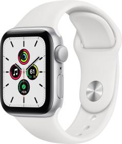 Apple Watch SE (GPS) 40mm silber mit Sportarmband weiß (MYDM2FD)