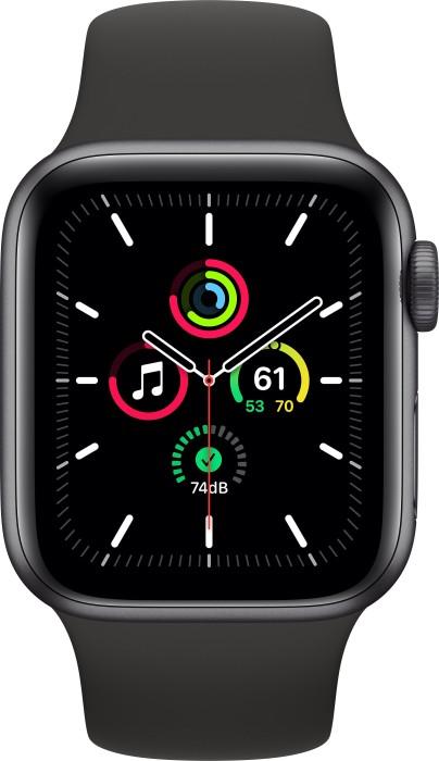 Bild von Apple Watch SE (GPS) 40mm space grau mit Sportarmband schwarz (MYDP2FD)