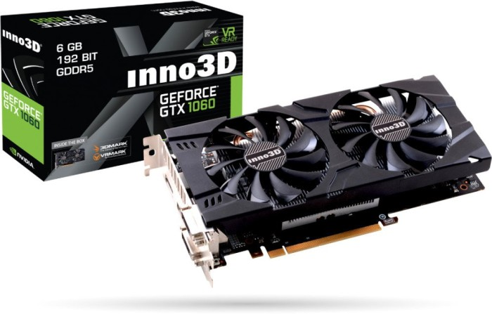 INNO3D GeForce GTX 1060 Twin X2, 6GB GDDR5, 2x DVI, HDMI, DP (N106F-5SDN-N5GS)
