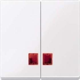 Merten System M Doppelwippe rotem Symbolfenster Thermoplast brillant, aktivweiß (MEG3456-0325)