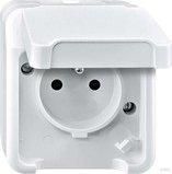 Merten Aquastar Steckdose mit Schutzkontaktstift, polarweiß (MEG2500-8019)
