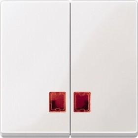 Merten System M Doppelwippe rotem Symbolfenster Thermoplast brillant, polarweiß (MEG3456-0319)