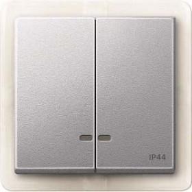 Merten System M Doppelwippe Kontrollfenster IP44 Thermoplast edelmatt, aluminium (MEG3424-0460)
