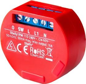 Shelly 1 PM, WLAN-Funkschalter mit Strommesssensor, 1-Kanal, Unterputz, Schaltaktor (20198)