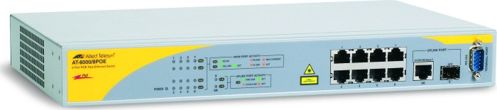 Allied Telesis 8000GS Desktop Managed Switch, 8x RJ-45, 1x RJ-45/SFP, PoE (AT-8000/8POE)