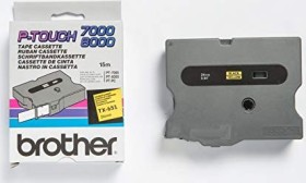 Brother TX-651 label-making tape 24mm, black on yellow (TX651)