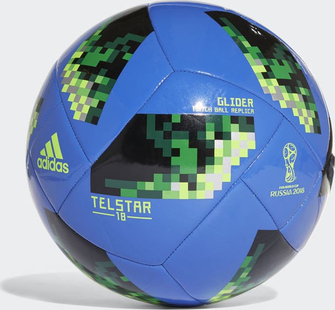 Adidas Fussball Telstar 18 Fifa Wm 2018 Glider Ball Hi Res Blue Solar Green Silver Metallic Ce8100