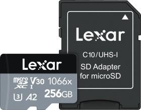 Lexar Professional 1066x Silver Series R160/W70 microSDXC 256GB Kit, UHS-I U3, A2, Class 10 (LMS1066256G-BNAAG)