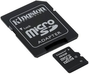 Kingston microSDHC 16GB kit, Class 4 (SDC4/16GB)