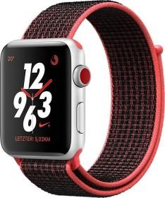 Apple Watch Nike+ Series 3 (GPS + Cellular) Aluminium 42mm silber mit Sport Loop rot/schwarz (MQMG2ZD/A)
