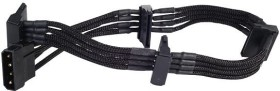 SilverStone SATA-Stromadapter 4-Pin [IDE] auf 4x 15-Pin [SATA] 30cm, sleeved schwarz (SST-PP07-BTSB/40097)