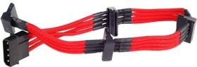 SilverStone SATA-Stromadapter 4-Pin [IDE] auf 4x 15-Pin [SATA] 20cm, sleeved rot (SST-PP07-BTSR/40098)