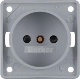 Berker Integro FLOW Steckdose ohne Schutzkontakt Niederlande, grau matt (961942506)