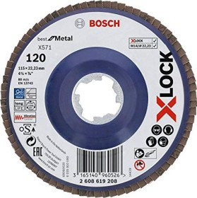 Bosch X-LOCK X571 Best for Metal Fächerschleifscheibe K120 115mm, 1er-Pack (2608619208)