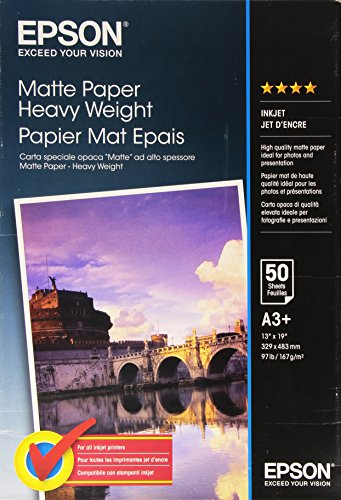 Epson S041264 mata Heavyweight Papier A3+, 167g, 50 arkuszy -- via Amazon Partnerprogramm