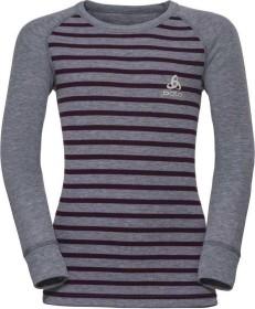 Odlo Active Warm Shirt langarm grey melange/pickled beet/stripes (Junior) (10459-10602)