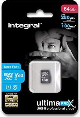 Integral UltimaProX2 R280/W100 microSDXC 64GB Kit, UHS-II U3, Class 10 (INMSDX64G-280/100U2) -- via Amazon Partnerprogramm