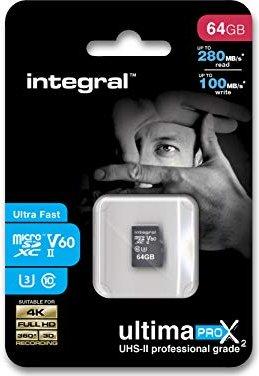 Integral ultima PRO X2 R280/W100 microSDXC 64GB Kit, UHS-II U3, Class 10 (INMSDX64G-280/100U2)
