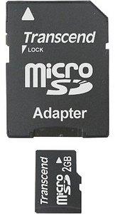 Transcend microSD 2GB mit 2 Adaptern (TS2GUSD-2)