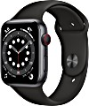 Apple Watch Series 6 (GPS + Cellular) 44mm Aluminium space grau mit Sportarmband schwarz (MG2E3FD)