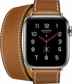 Apple Watch Hermès Series 5 (GPS + Cellular) 40mm Edelstahl silber mit Double Tour Armband fauve (MX5N2FD)