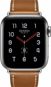 Apple Watch Hermès Series 5 (GPS + Cellular) 40mm Edelstahl silber mit Single Tour Armband fauve (MX5M2FD)