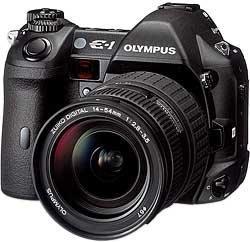 Olympus E-1 schwarz mit Objektiv 14-54mm 2.8-3.5 und Blitzgerät FL-36 (E0413010)