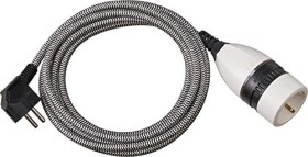 Brennenstuhl power cable schuko plug textile extension cable with illuminated on/off-rotary switch white, 3m (1161830)