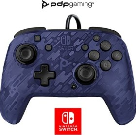 PDP Faceoff Deluxe + Audio Wired Controller blue camo (Switch)