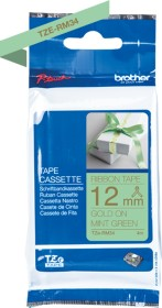 Brother TZe-RM34 textile label-making tape 12mm, gold/mint green (TZeRM34)