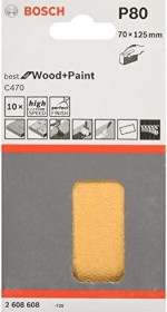 Bosch Professional C470 Best for Wood and Paint Schleifblatt 70x125mm K80, 10er-Pack (2608608Y21)