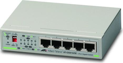 Allied Telesis CentreCOM GS910 Desktop Gigabit Switch, 5x RJ-45, DC-Version (AT-GS910/5E / 990-004855)