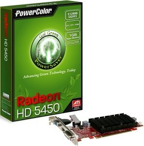 PowerColor Radeon HD 5450 Go! Green low profile,  512MB DDR3, VGA, DVI, HDMI (AX5450 512MK3-SH/R81KL-PE3)