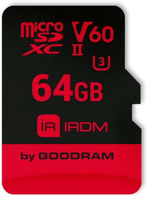 Goodram IRDM M6BA R280/W110 microSDXC 64GB Kit, UHS-II U3, Class 10 (IR-M6BA-0640R11)