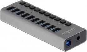 DeLOCK USB-Hub, 10x USB-A 3.0, USB-B 3.0 [Buchse] (63976)