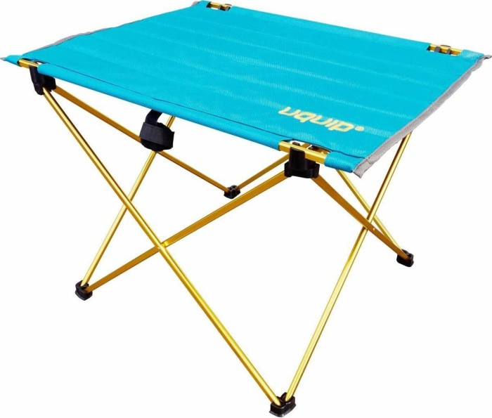 Outdoor and Travel Uquip Liberty Folding Camping Table with Carrying Bag Blue//Gold