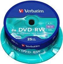 Verbatim DVD-RW 4.7GB 4x, Cake Box 25 sztuk (43639)