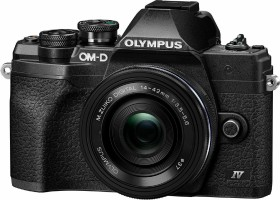 Olympus OM-D E-M10 Mark IV schwarz mit Objektiv M.Zuiko digital 14-42mm EZ (V207132BE000)