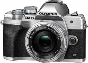 Olympus OM-D E-M10 Mark IV silber mit Objektiv M.Zuiko digital 14-42mm EZ und ED 40-150mm R